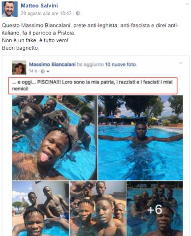 post Facebook Salvini Don Biancalani